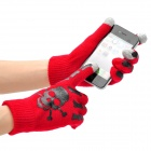 Cool Skeleton Hand Pattern Capacitive Screen Touching Hand Warmer Gloves - Red (Pair)