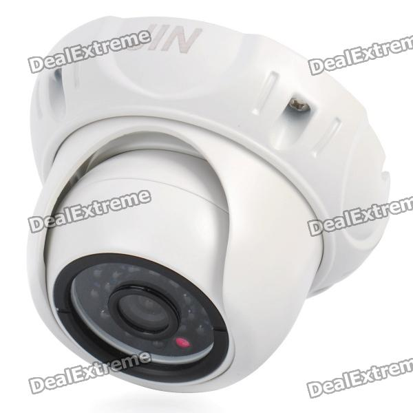 1/3 CCD Surveillance Security Camera with 24-LED IR Night Vision - White (DC 12V) ts 8816s yhs water resistant 1 3 ccd surveillance security camera w 30 led ir night vision