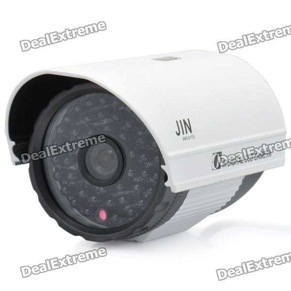1/3 CCD Surveillance Security Camera with 48-LED IR Night Vision - White + Grey (DC 12V) ts 8816s yhs water resistant 1 3 ccd surveillance security camera w 30 led ir night vision
