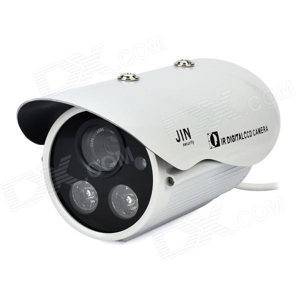 1/3 CCD Surveillance Security Camera with 2-LED IR Night Vision - White (DC 12V) ts 8816s yhs water resistant 1 3 ccd surveillance security camera w 30 led ir night vision