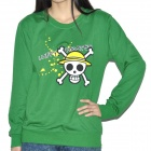 One Piece Pattern Lovers Round Collar Long Sleeves T-Shirt for Women - Green (150~165cm)
