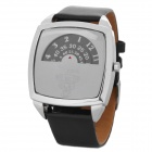 Fashion One Piece Image Square Style Wrist Watch - Black + Silver (1 x 377ETA)