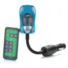 "1,0 ""LCD-Auto MP3-Player FM Transmitter w / Fernbedienung / SD / TF - Blau (12 ~ 24V)"