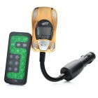 "Car Style 1.0"" LCD Car MP3 Player FM Transmitter w/ Remote Controller / SD / TF - Golden(12~24V)"