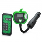 "Apple Style 1.0"" LCD Car MP3 Player FM Transmitter w/ Remote Controller / SD / TF - Green (12~24V)"