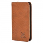 One Piece Image Pattern Cowhide Leather Long Style Wallet Purse - Brown