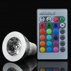 GU10 3W 1-LED Multi-Colored RGB Light Bulb w/ Remote Control (AC 85~265V)