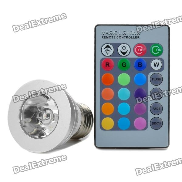 E27 3W RGB Color Light 1-LED Bulb w/ Remote Control (AC 85~265V)