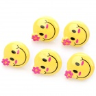 3.5mm Smile Face Earphone Dust-proof Plug - Black + Yellow + Pink (5-Pack))