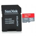 SANDISK High Speed Micro SD / TF Card w/ SD Adapter - 8GB (Class-6)
