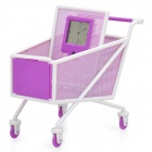 "Shopping Cart Style Pen Holder with 1.4"" LCD Clock (1 x AG10)"