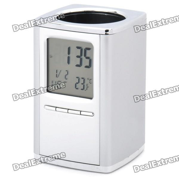 2.2 LCD Multifunction Alarm Clock + Calendar + Thermometer with Pen Holder (1 x CR2025) tl 031 2 3 lcd thermometer w clock countdown white black 1 x aaa