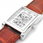 Stylish Stainless Steel Square Dial Manual-Winding Mechanical Skeleton Wrist Watch