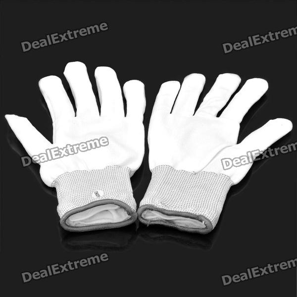 Fashion Cool LED 6-Mode Multicolored Flashing Knitting Gloves - White (2 x CR2032 / Pair)