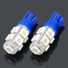 T10 2.5W 457.5nm 9x5050 SMD LED Blue Light Car Dashboard-Leseleuchten (Pair / DC 12V)