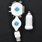Car Cigarette Powered USB Adapter/Charger with Universal Cellphone Charging Adapter Set - White