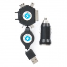 Car Cigarette Powered USB Adapter/Charger with Universal Cellphone Charging Adapter Set - Black