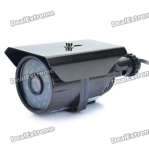 1/3 CCD Surveillance Security Camera w/ 16-LED IR Night Vision - Dark Grey (8mm / NTSC) led 5001 9w 450lux 3 led video lamp dark grey
