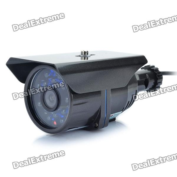 1/3 CCD Surveillance Security Camera w/ 16-LED IR Night Vision - Dark Grey (6mm / NTSC) led 5001 9w 450lux 3 led video lamp dark grey