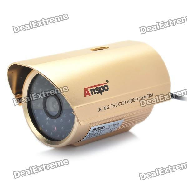 1/3 CCD Surveillance Security Camera w/ 48-LED IR Night Vision - Gold (6mm / NTSC / DC 12V) 1 3 ccd waterproof surveillance security camera w 36 ir led night vision purple