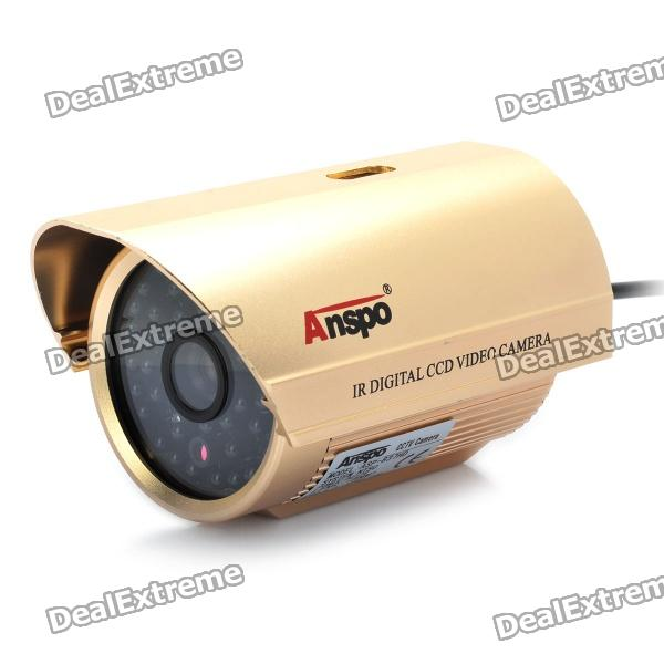 1/3 CCD Surveillance Security Camera w/ 48-LED IR Night Vision - Gold (8mm / NTSC / DC 12V) 8 led hd color image car backup parkingcamera reverse rear view cameras with night vision waterproof with parking line dc 12v