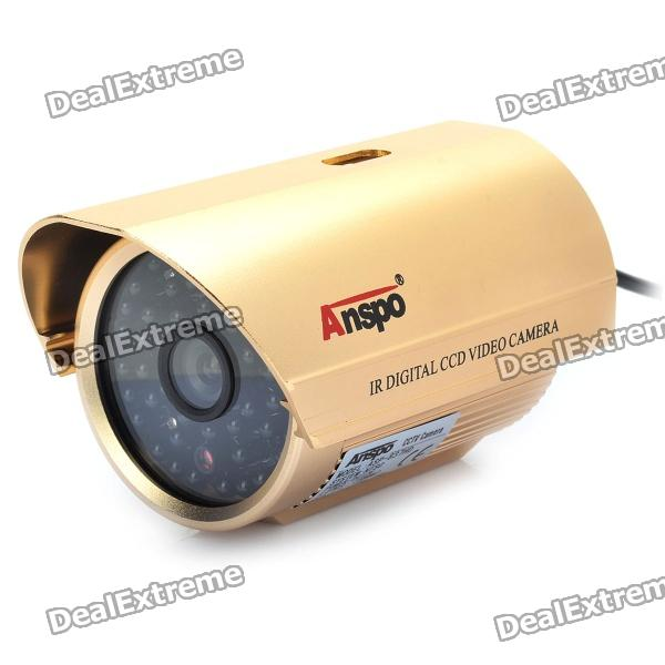 1/3 CCD Surveillance Security Camera w/ 48-LED IR Night Vision - Gold (6mm / NTSC / DC 12V) 8 led hd color image car backup parkingcamera reverse rear view cameras with night vision waterproof with parking line dc 12v