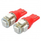 T10 0.18x5W Red Light 5-SMD 5050 LED Car Reading Light (Pair / DC 12V)