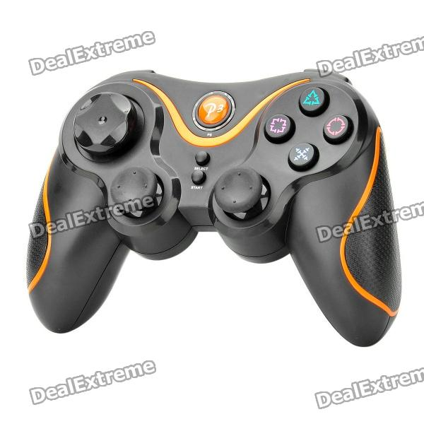 Rechargeable Bluetooth V2.1 Wireless DoubleShock SIXAXIS Controller for PS3 - Black + Orange