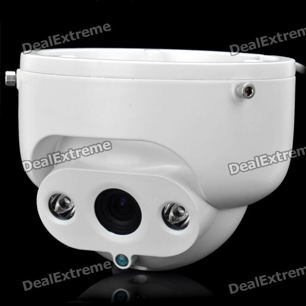 1/3 CCD Surveillance Security Manual Zoom Camera w/ 2-LED IR Night Vision - White (NTSC) 1 4 ccd rechargeable home security surveillance dvr camera alarm w night vision sd white