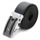 PouchKan Stylish Cow Leather Men's Belt with Zinc Alloy Buckle - Black