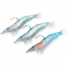 Lifelike Shrimp Style Soft PVC Fishing Baits w/ Hook - Blue (3-Pack)