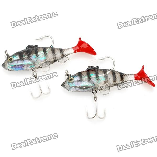 Lifelike Fish Style Soft PVC Fishing Baits w/ Hooks - Black (Pair)