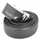 PouchKan Stylish Fashion Men Cow Leather Belt with Zinc Alloy Buckle - Black