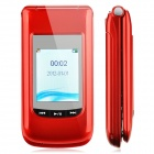 "M700 GSM-TV Flip Phone w / 2,4 ""LCD Display, Dual SIM, Quadband und FM-Radio - Red"