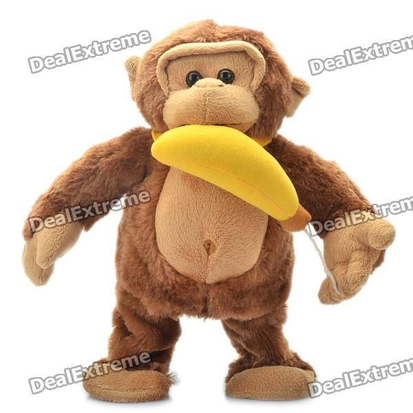 Cute Feed the Monkey Style Plush Doll Toy - Coffee (3 x AA) от DX.com INT