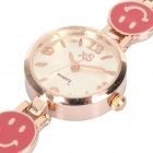 Stylish Lady's Smiling Bracelet Style Quartz Wrist Watch - Golden (1 x 377)