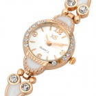 Stylish Lady's Bracelet Style Quartz Wrist Watch - Golden (1 x 377)