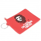 Che Guevara Image Pattern Canvas Purse Wallet with Key Ring - Red