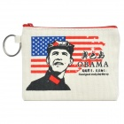 Barack Obama Pattern Canvas Change Coin Purse Pouch Bag with Keychain - Beige