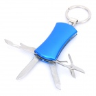 Stylish Multi-Function 4-in-1 Tool Knife + File + Scissors + Opener with Keychain - Blue