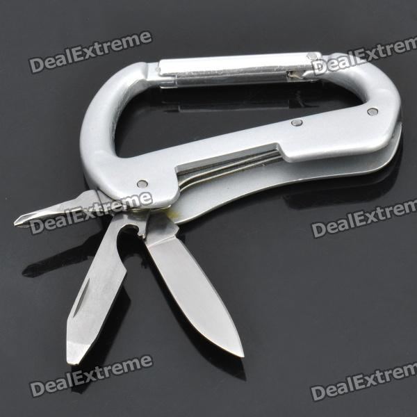 A18 Durable 3-in-1 Bottle Opener + Cross Screwdriver + Knife Carabiner Clip - Silver 17 in 1 multifunction knife with wooden handle wood silver