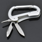 A18 Durable 3-in-1 Bottle Opener + Cross Screwdriver + Knife Carabiner Clip - Silver