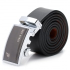 PouchKan Stylish Men Cow Leather Belt with Zinc Alloy Buckle - Black