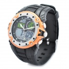 Sports Diving Wrist Watch w/ EL Backlit/Week/Stopwatch/Alarm Clock - Black + Orange (1 x CR2016)