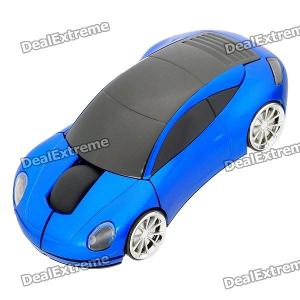 Porsche Car Style 2.4GHz Wireless Mouse with USB Receiver - Black + Blue (2 x AAA)