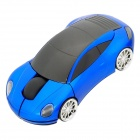 Car Style 2.4GHz Wireless Mouse with USB Receiver - Black + Blue (2 x AAA)
