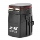 Universal Travel Power Plug Adapter mit 2 USB Ports - Black (USA / EU / AU / UK)