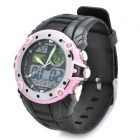 Sports Diving Wrist Watch w/ EL Backlit / Week / Stopwatch / Alarm Clock - Black + Pink (1 x CR2025)