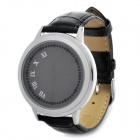 Fashion 60-LED Touch Screen Blue/White Light LED Wrist Watch - Black + Silver (1 x CR2032)