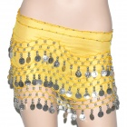 Silver Coins Pendant Belly Dance Hip Skirt Dress - Yellow + Silver (153 x 25cm)